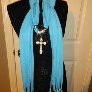 NEW TURQUOISE SCARF WITH HUGE CROSS